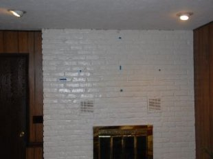 Before, blank fireplace.